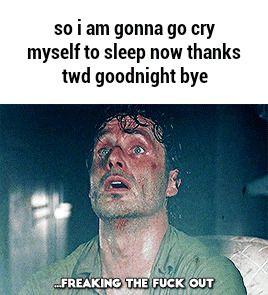 So I Am Gonna Go Cry Myself To Sleep Now Thanks Twd Goodnight Bye Popular Memes Twd Thankful