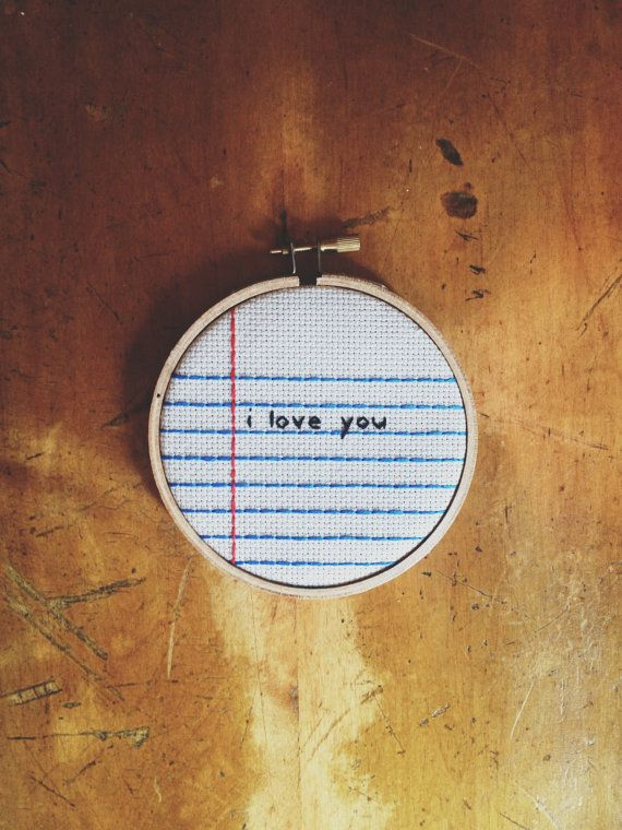 Notebook Lined Paper Cross Stitch Embroidery Wall Hanging u0027i love - lined paper with picture