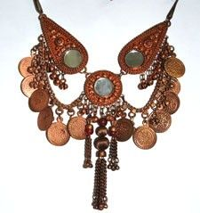 Metal Necklace with Coins & Mirrors - COPPER