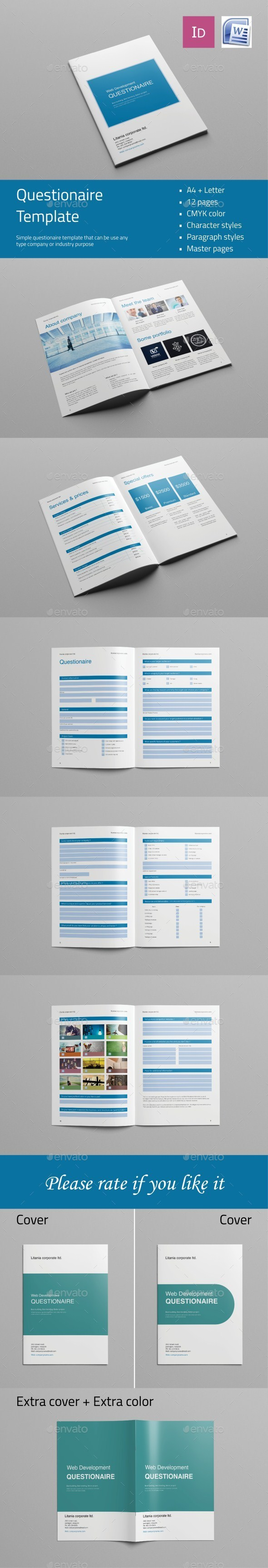 Web Design Questionnaire Template Indesign Indd Design Download