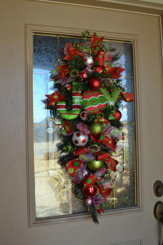 Festive JOY Door Swag. $90.00, via Etsy.