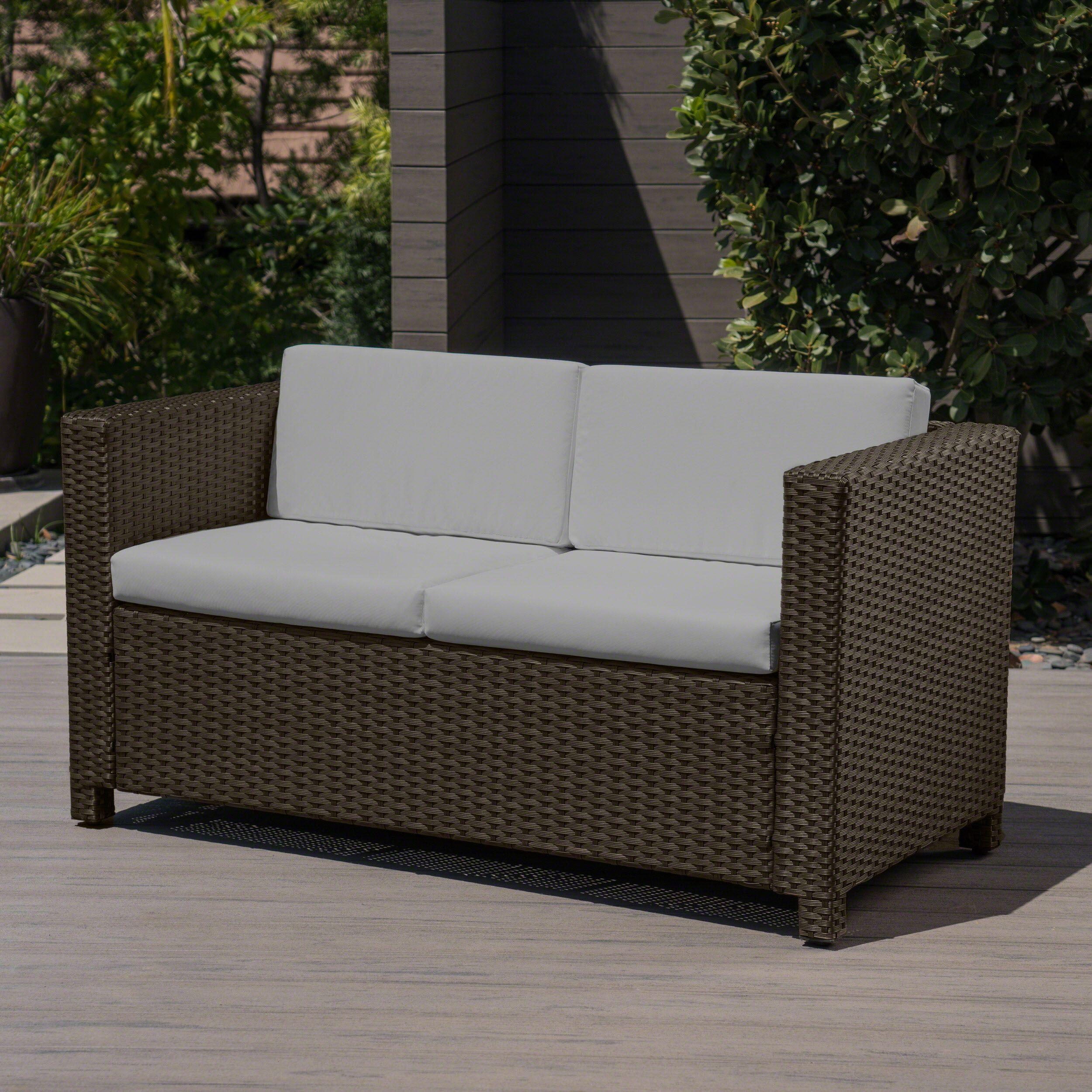 Pattillas Outdoor Wicker Loveseat With Cushions Brown Ceramic Grey Walmart Com In 2020 Wicker Loveseat Outdoor Wicker Patio Loveseat