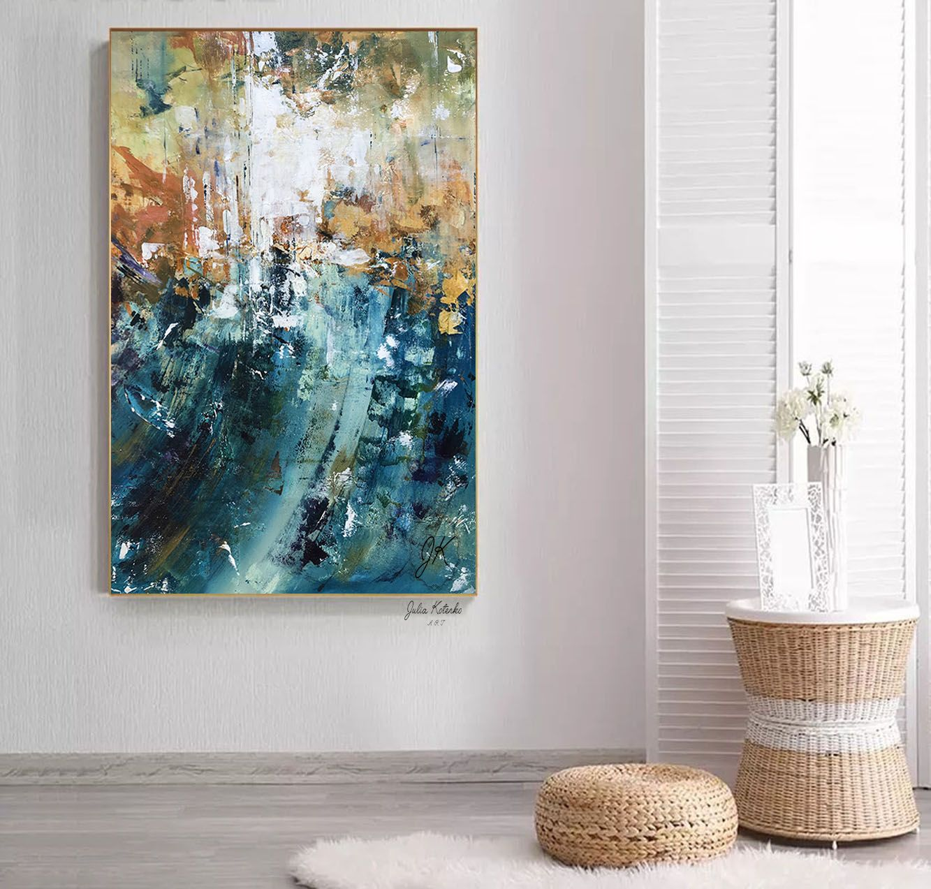 Over the Bed Decor, Oversized Canvas Art,Teal Blue Wall