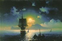 Lunar night on Capri - Ivan Aivazovsky,  Russian, Armenian Art Movement: Romanticism