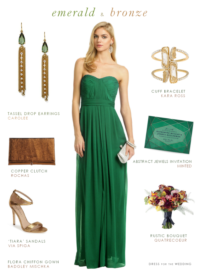 affde4a6a7f Emerald green chiffon gown with bronze + copper accessories for a look that  suits a wedding guest or a bridesmaid.