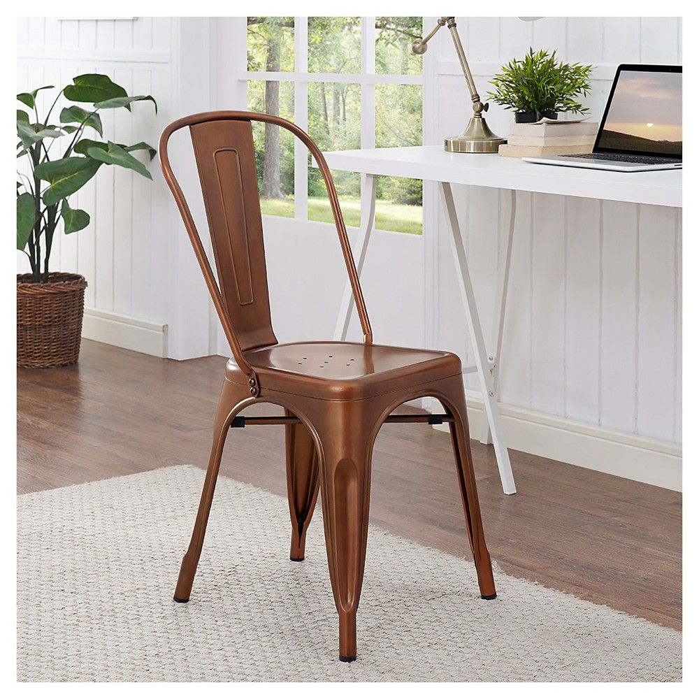 Stackable Metal Café Bistro Chair   Bronze   Saracina Home, Bronze Cloud