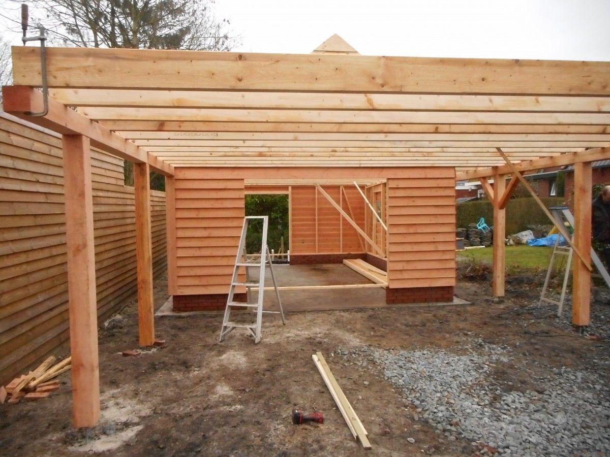 Carport met plat dak en schuur dakpan klaar deze schuur is geplaatst op een gemetselde - Veranda met dakpan ...