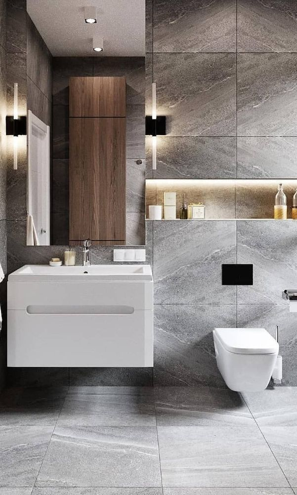 60 Beautiful Gray Bathroom Ideas With Stylish Color Combinations 2020 Page 38 Of 60 In 2020 Bathroom Interior Design Luxury Bathroom Luxury Bathroom Master Baths