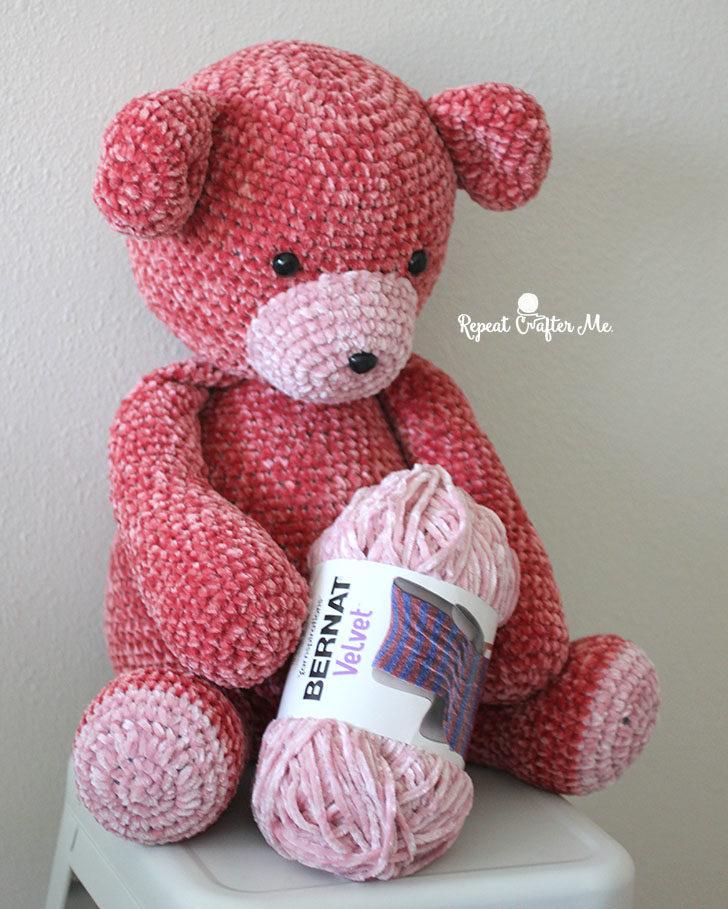 Big Bernat Velvet Crochet Bear - Repeat Crafter Me