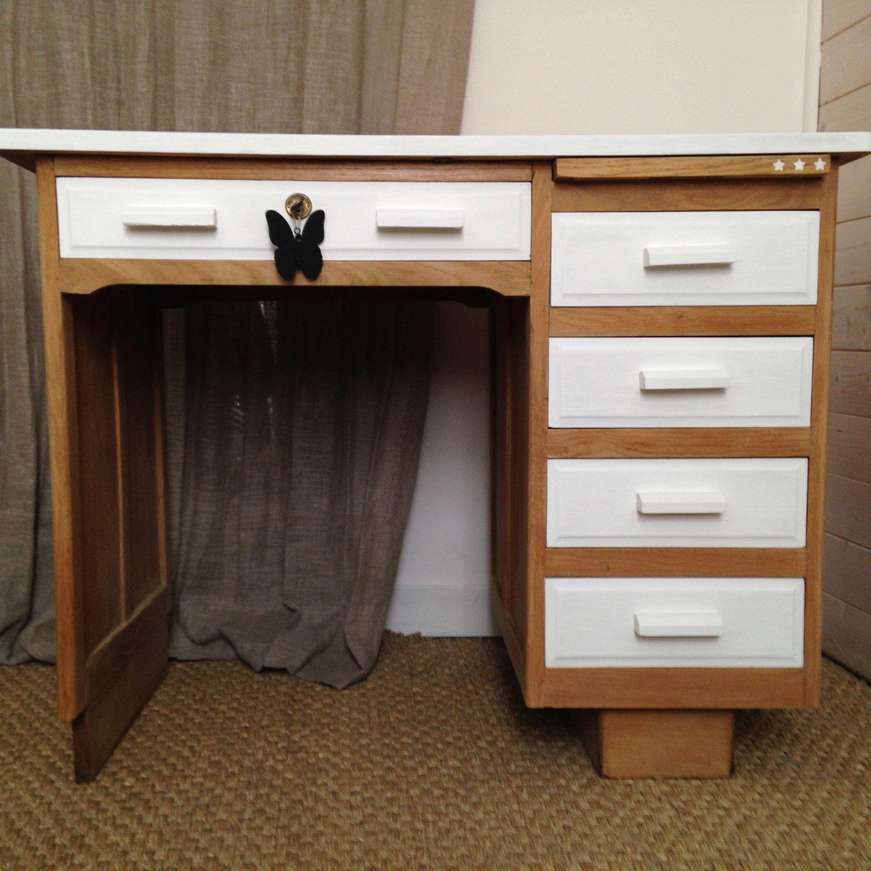 bureau comptable bois brut et blanc mes r cr ations en. Black Bedroom Furniture Sets. Home Design Ideas