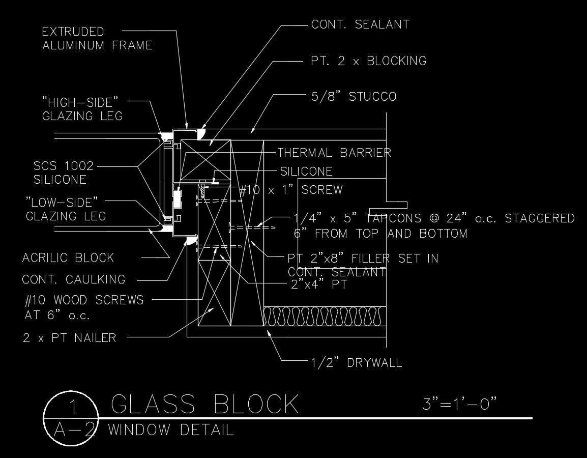 Free CAD Details-Glass Block Detail – CAD Design | Free CAD Blocks