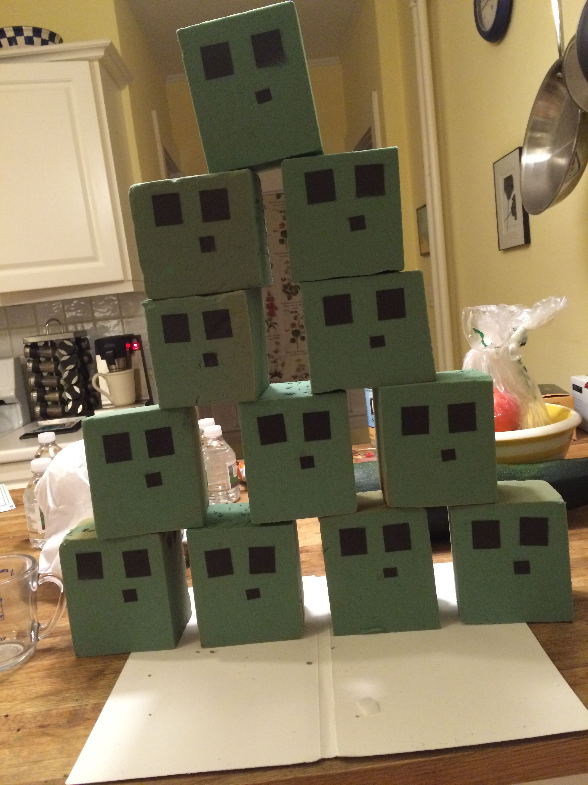 minecraft slime cube shoot out later set up in the backyard and