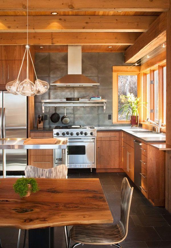 Warm wood but modern   kitchen rustic farm house brown white gray ...