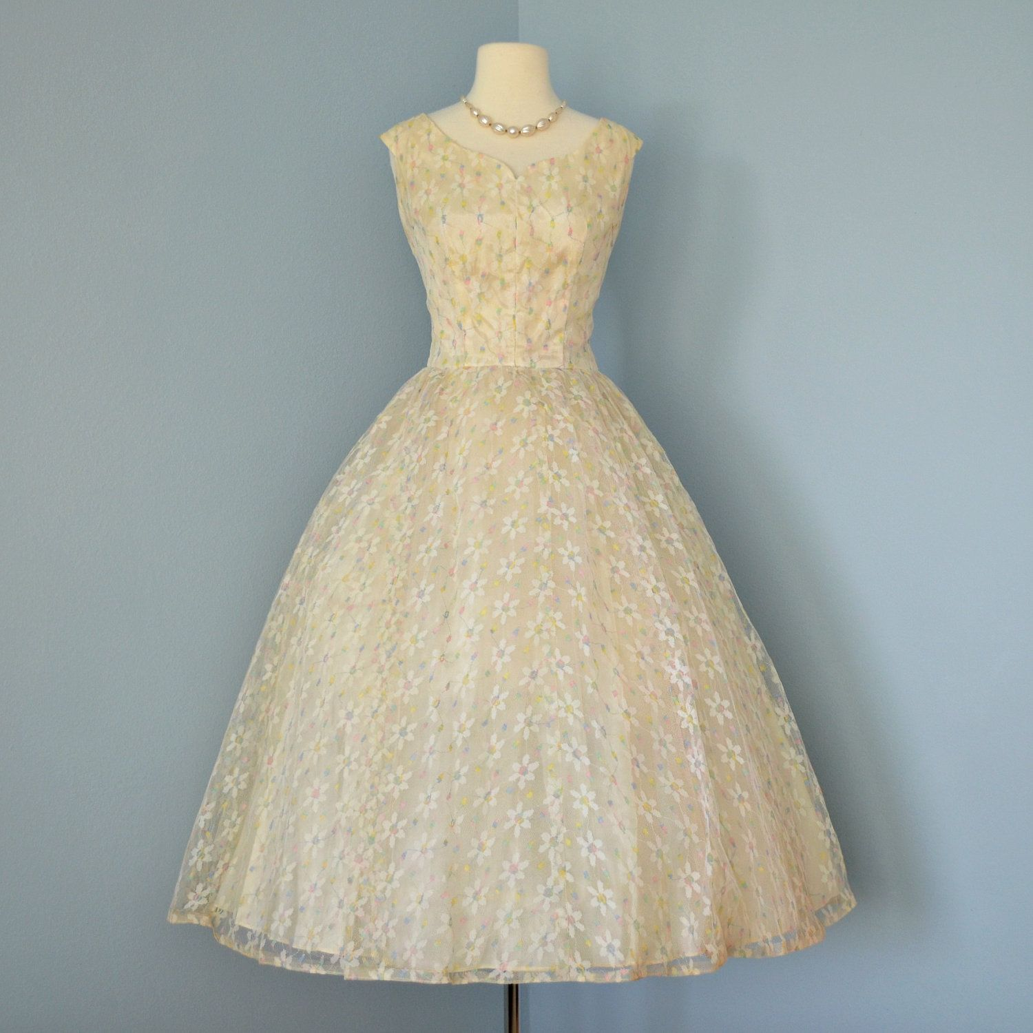 Vintage Tea Length Wedding Dress...1950\'s Emma Domb Pale Yellow ...