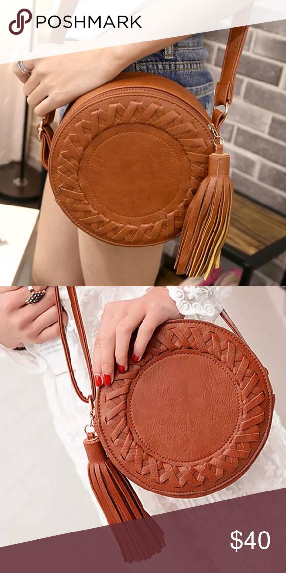b0b275f3b2 Round Boho Faux Leather Braided Crossbody Bag The perfect circle bohemian crossbody  bag with a super cute braiding design and a tassel.
