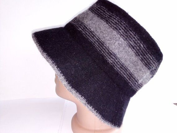 d041777ce3d Ladies Black gray wool Slouchy Hat Cloche hat Women brim cap woven felt  bowler hat bucket