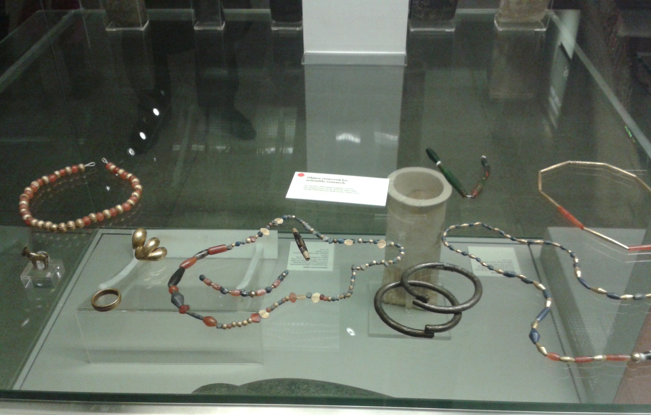 Jewelry of various materials Gold rings, Silver bracelets, Gold and carnelian beads