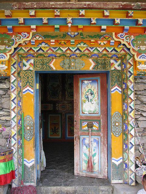 monastery door, Jiuzhaigou.