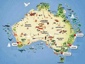 Carte Animaux Australie Australie Australie Carte Australie