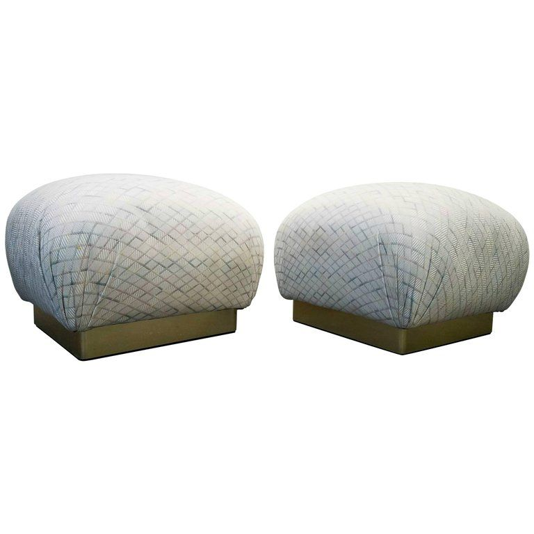 Poufs For Sale Interesting Pair Of Karl Springer Style Brass Base Souffle Ottomans Poufs 1 Inspiration