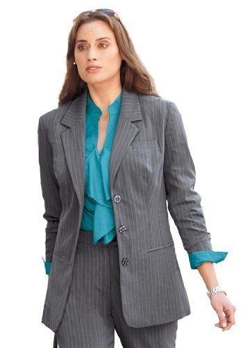 TOPSELLER! Plus Size Nassau Blazer In Pinstripe $24.99
