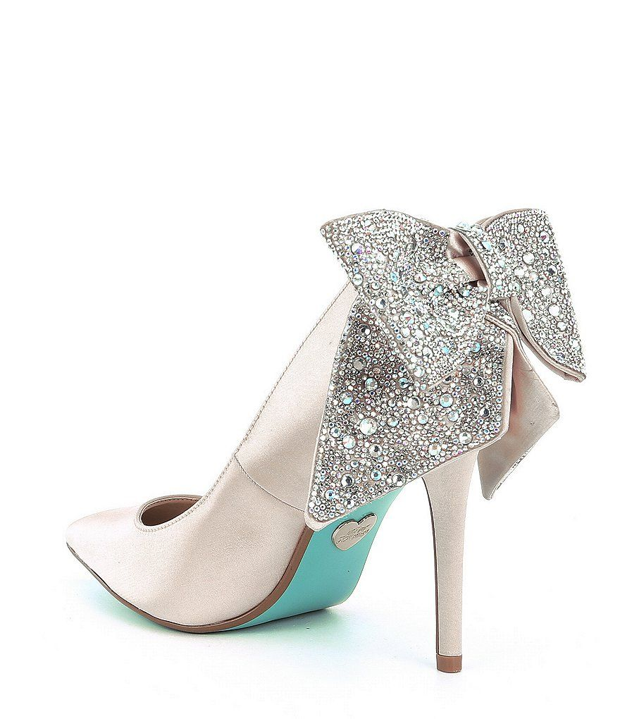 Blue By Betsey Johnson Rhinestone Bow Detail Bryn Pumps Dillard S Blue By Betsey Johnson Tiffany Blue Wedding Shoes Wedding Shoes Heels