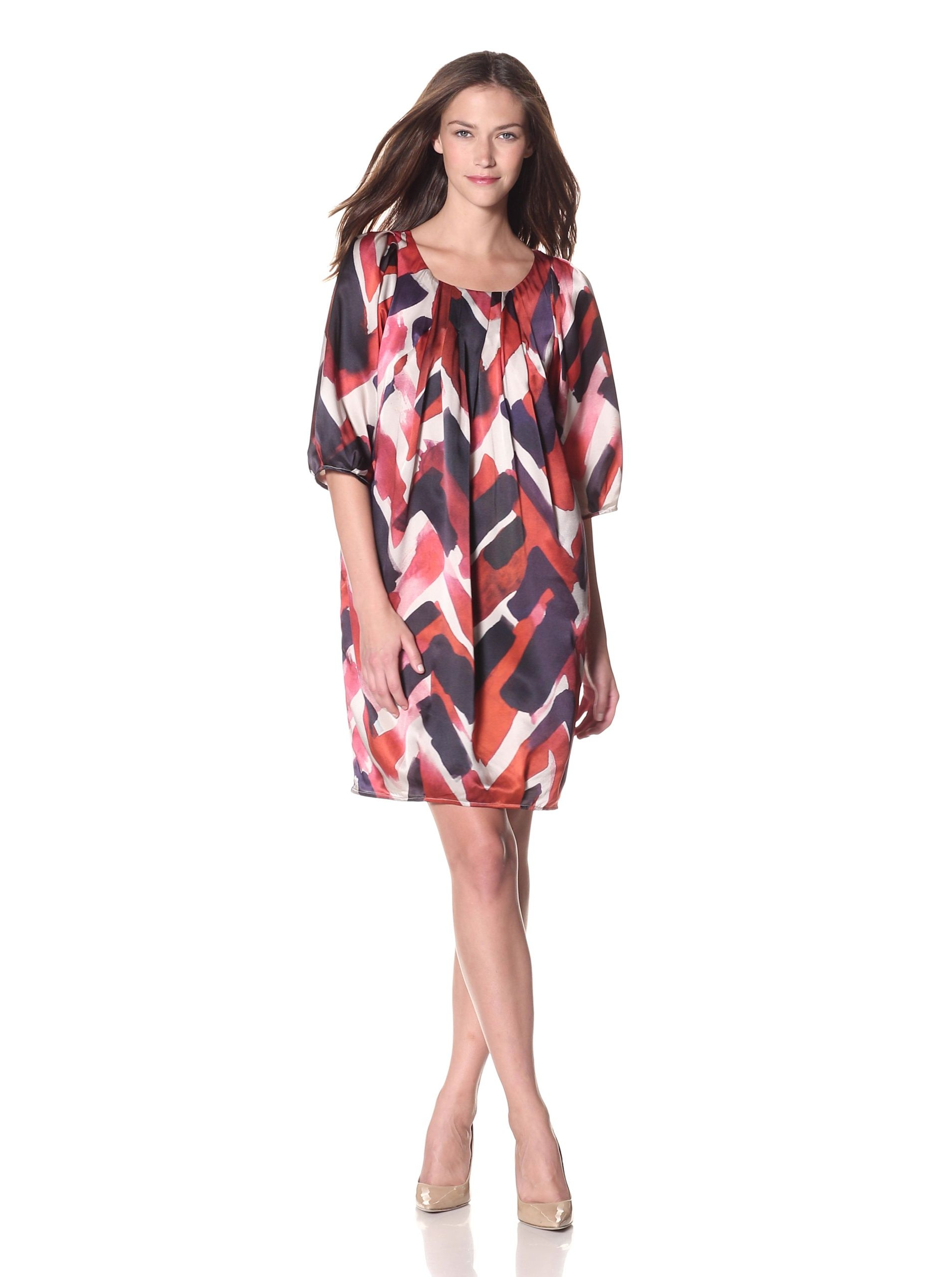 Armani Collezioni Women's Brushstroke Printed Dress (Multi) Stunning shift with unique pleat detail, watercolor inspired modern print, cropped sleeves, fully lined DressWomen #Dresses