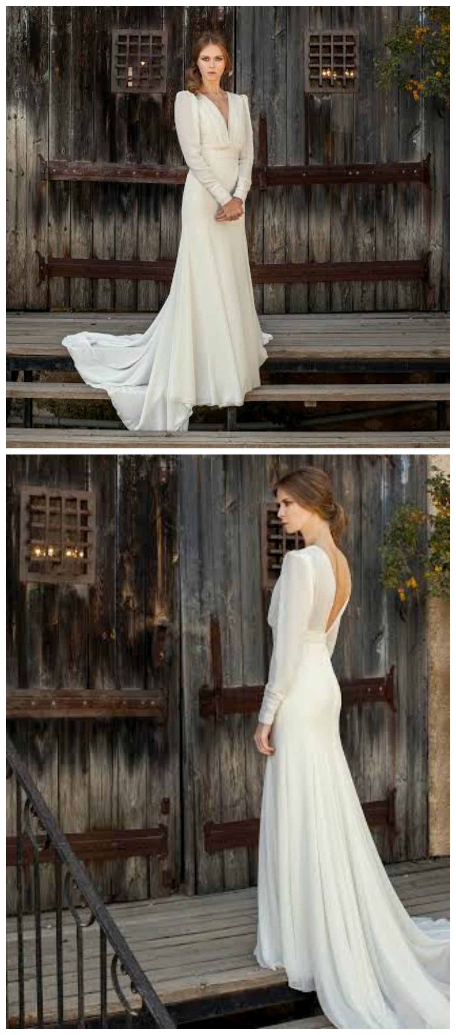Long sleeve wedding dress vintage wedding dress bridal gown off