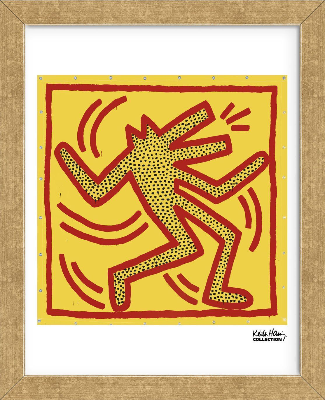 Untitled Red Dog On Yellow Framed