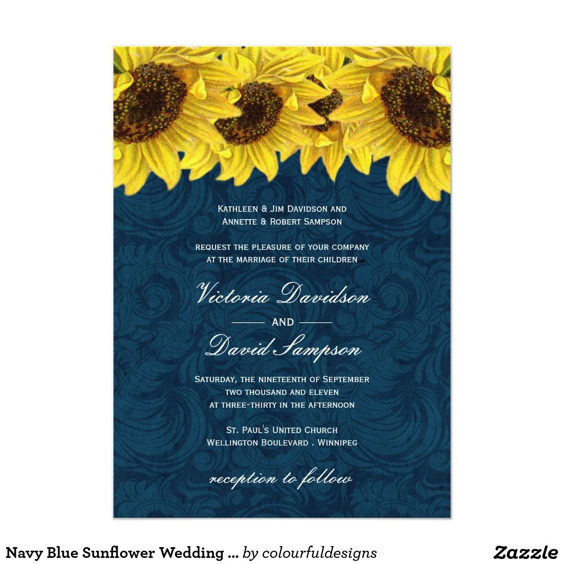 Navy Blue Sunflower Wedding Invitation 5\