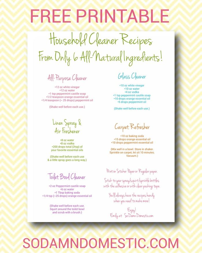 printable recipes for 5 all natural cleaners using castile soap vinegar essential oils and a. Black Bedroom Furniture Sets. Home Design Ideas