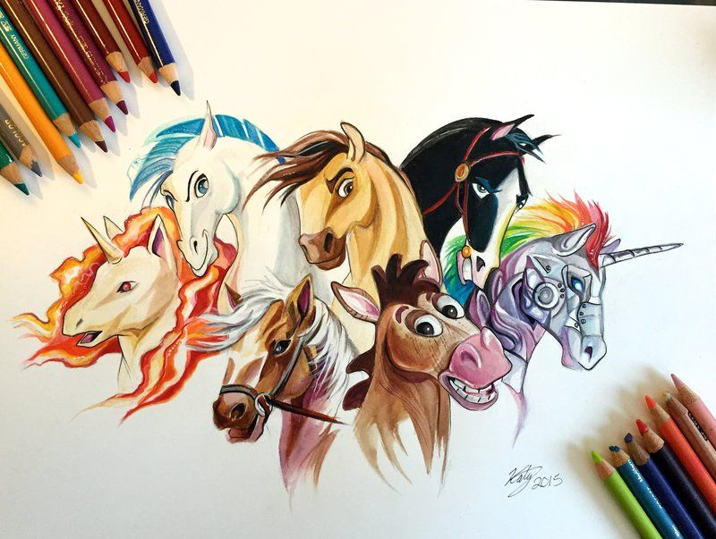 Horses. Fantasy Watercolor Paintings and Colored Pencils Drawings. See more art and information about Katy Lipscomb, Press the Image.