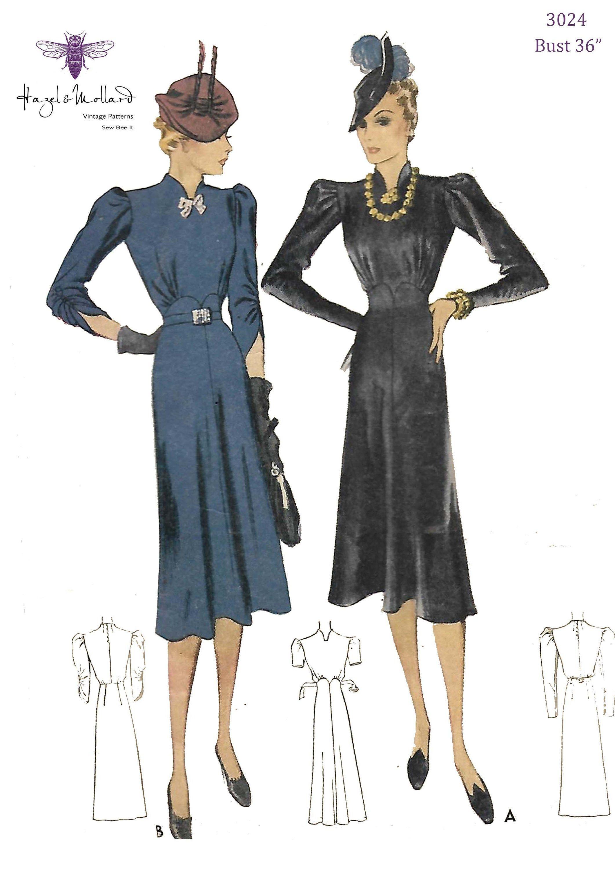 Vintage 1930 S Sewing Pattern Reproduction Elegant Dress Etsy In 2020 Elegant Dress Vintage 1930s Sewing Patterns