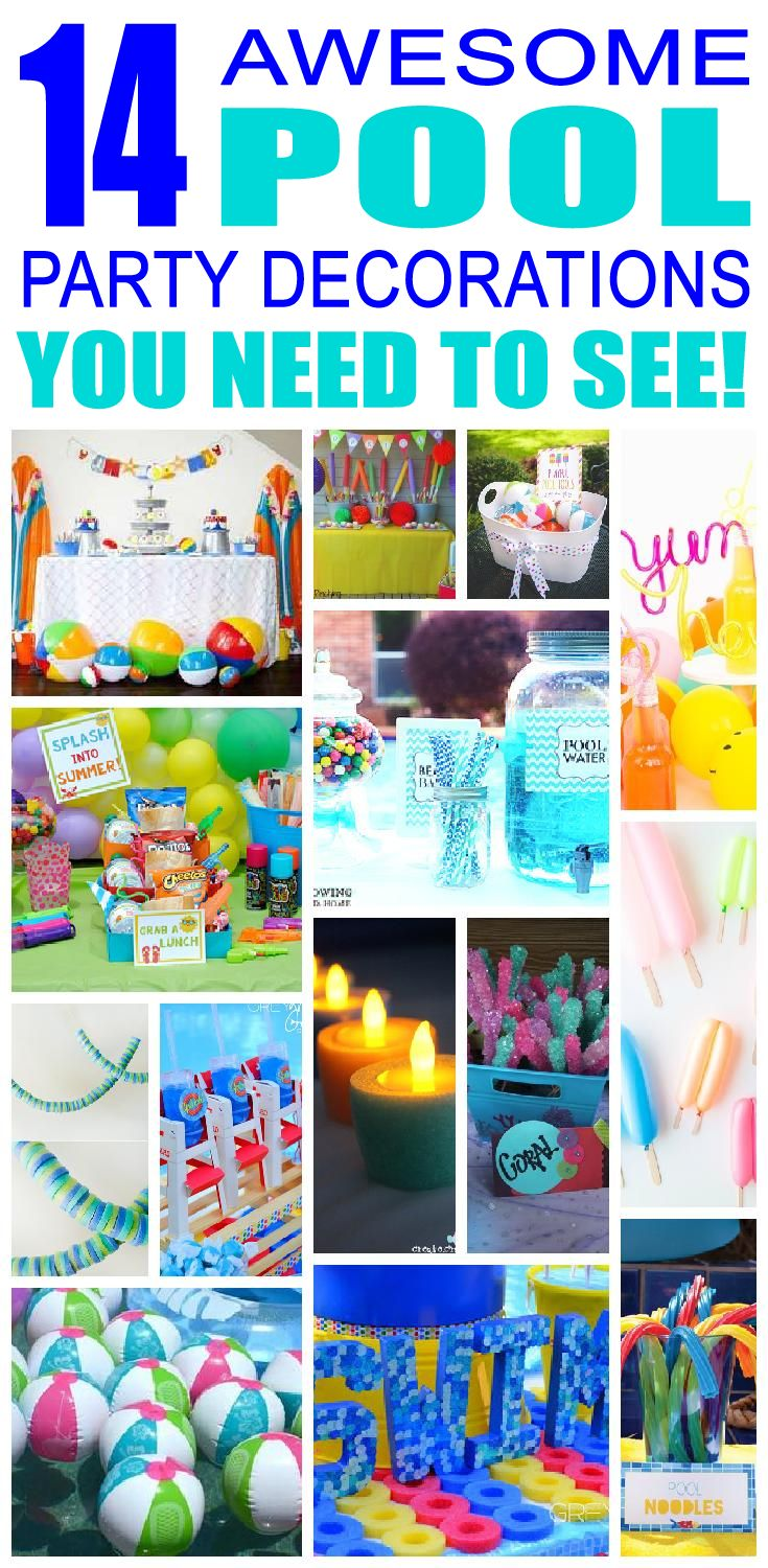 14 awesome pool party decoration ideas for kids birthday parties! Children will love these cool pool birthday party decorations and activities.  sc 1 st  Pinterest & Pool Birthday Party Decorations | Pinterest | Awesome pools ...