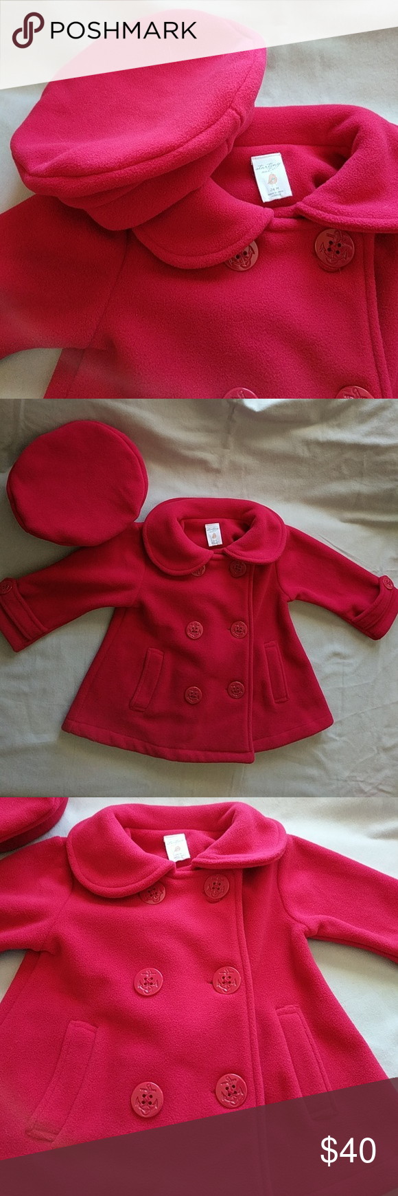 Baby Girl S Starting Out Peacoat With Beret True Red Berets And