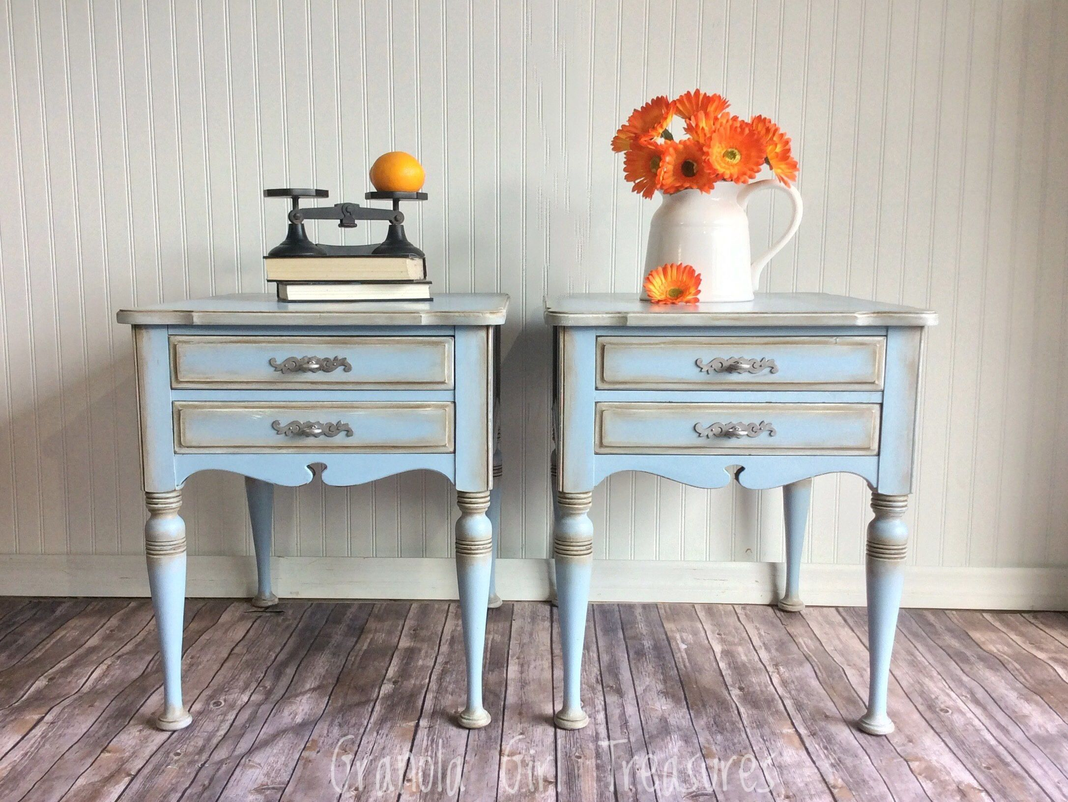 SOLD Vintage Hand Painted End Tables blue end tables