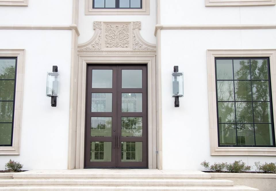 Superbe Architectural Doors And Lighting. Modern Wall Sconces And Double Front Door.