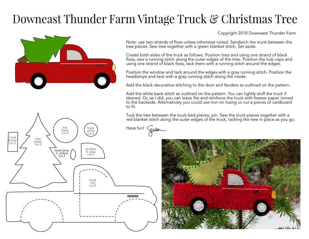 Vintage Red Truck With Christmas Tree Christmas Red Truck Felt Christmas Decorations Christmas Ornaments