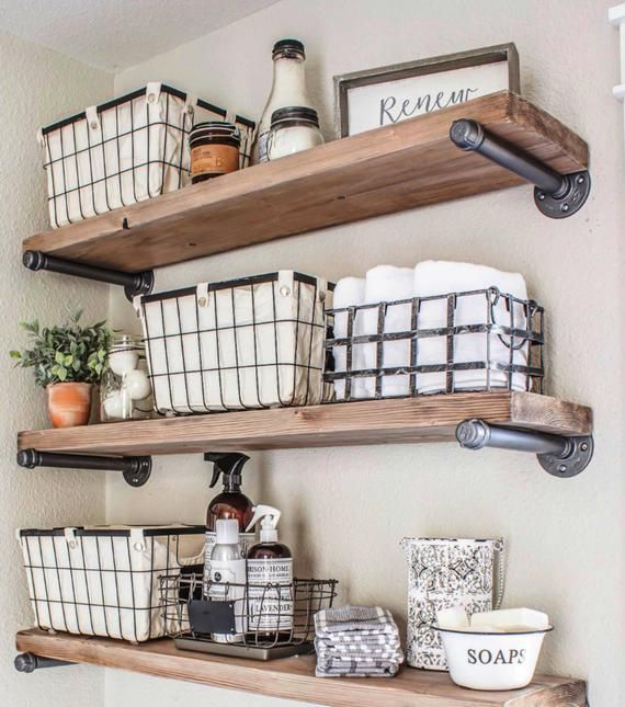 Photo of Set of 2 – Rustic Industrial 7.25″ Floating Shelves Farmhouse Open Kitchen Shelves, Cookware and Plate Shelf, Industrial Pipe Wall Shelves