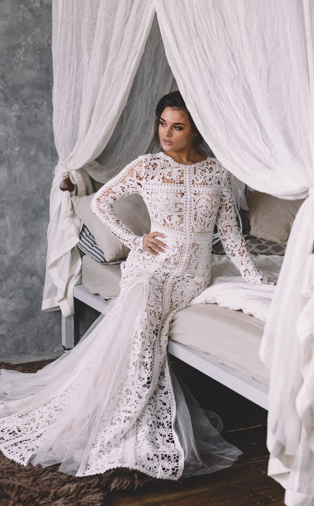 This amazing simple and elegant boho lace wedding dress by
