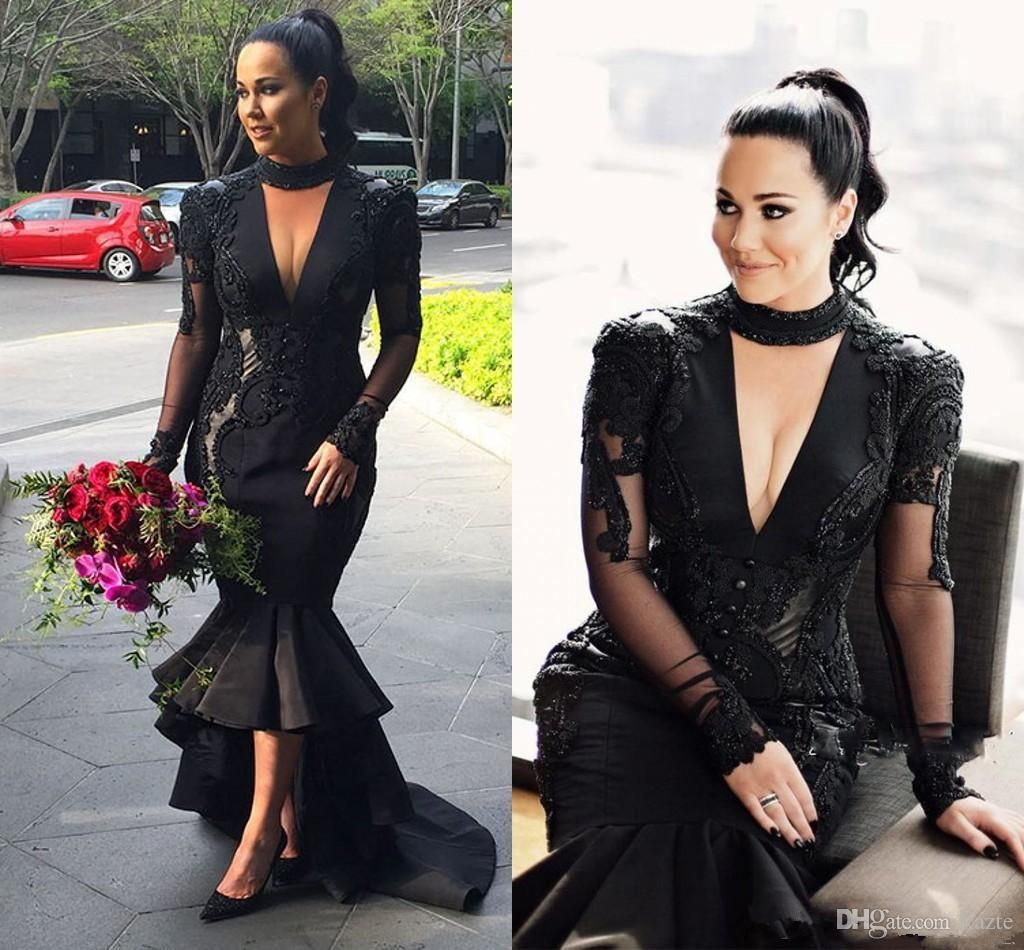 Kim Kardashian Black Deep V Neck Prom Dresses 2018 Plus Size Halter Lace  Appliques Evening Gowns 814421cfa1eb