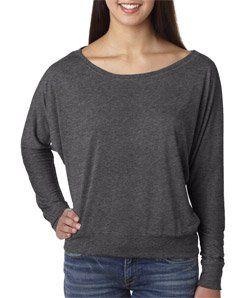 #8: Bella Ladies 3.7 oz. Long-Sleeve Flowy Off Shoulder T-Shirt - WHITE - S.