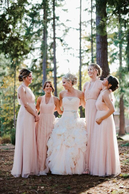 Blush & ivory afternoon wedding from Taylor'd Events Group featured on Seattle Met Bride & Groom || Jamie Jones Photography || Wedding Gown: Mark Zunino via Kleinfeld Veil and Accessories: Pnina Tornai Bridesmaids Dresses: Nordstrom Make-up: Off White Makeup || See more ➛ seattlemetbridean... #blushwedding #washingtonwedding