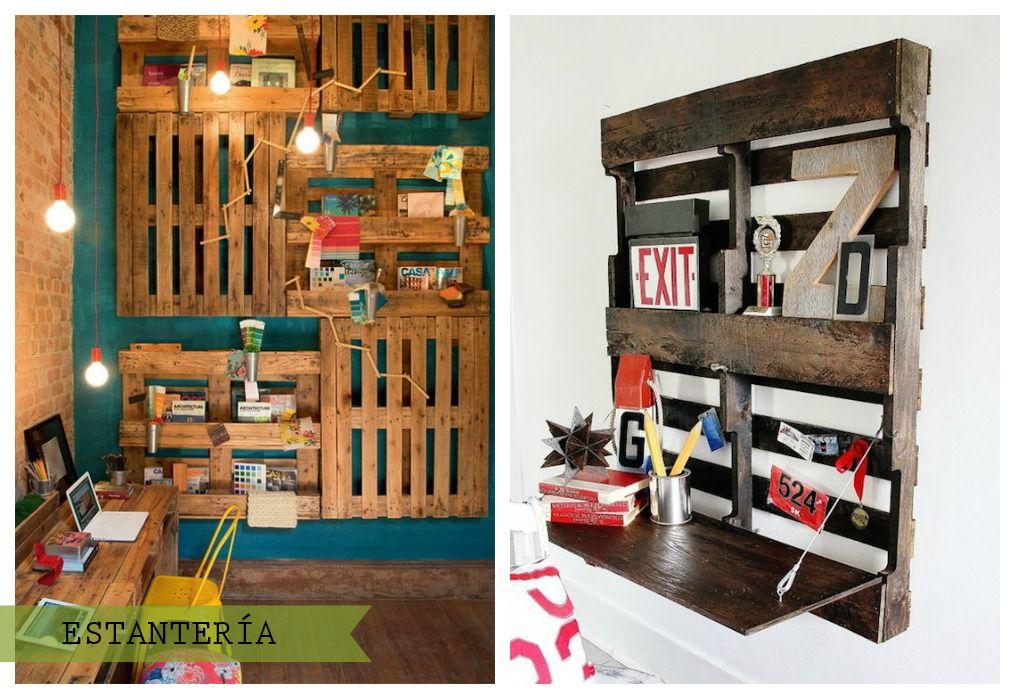 Palets en la pared palets estanter as y estanterias con for Estanterias con palets