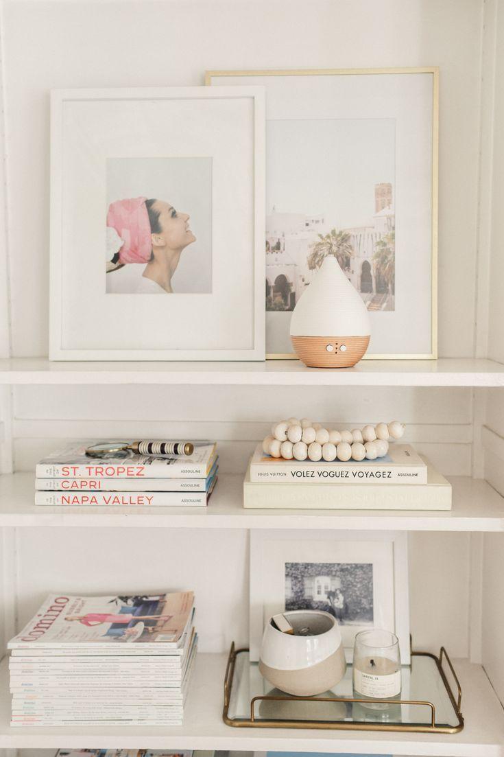 Incorporating Essential Oils - Harlowe James #essentialoils #diffuser #shelfstyling #homedecor