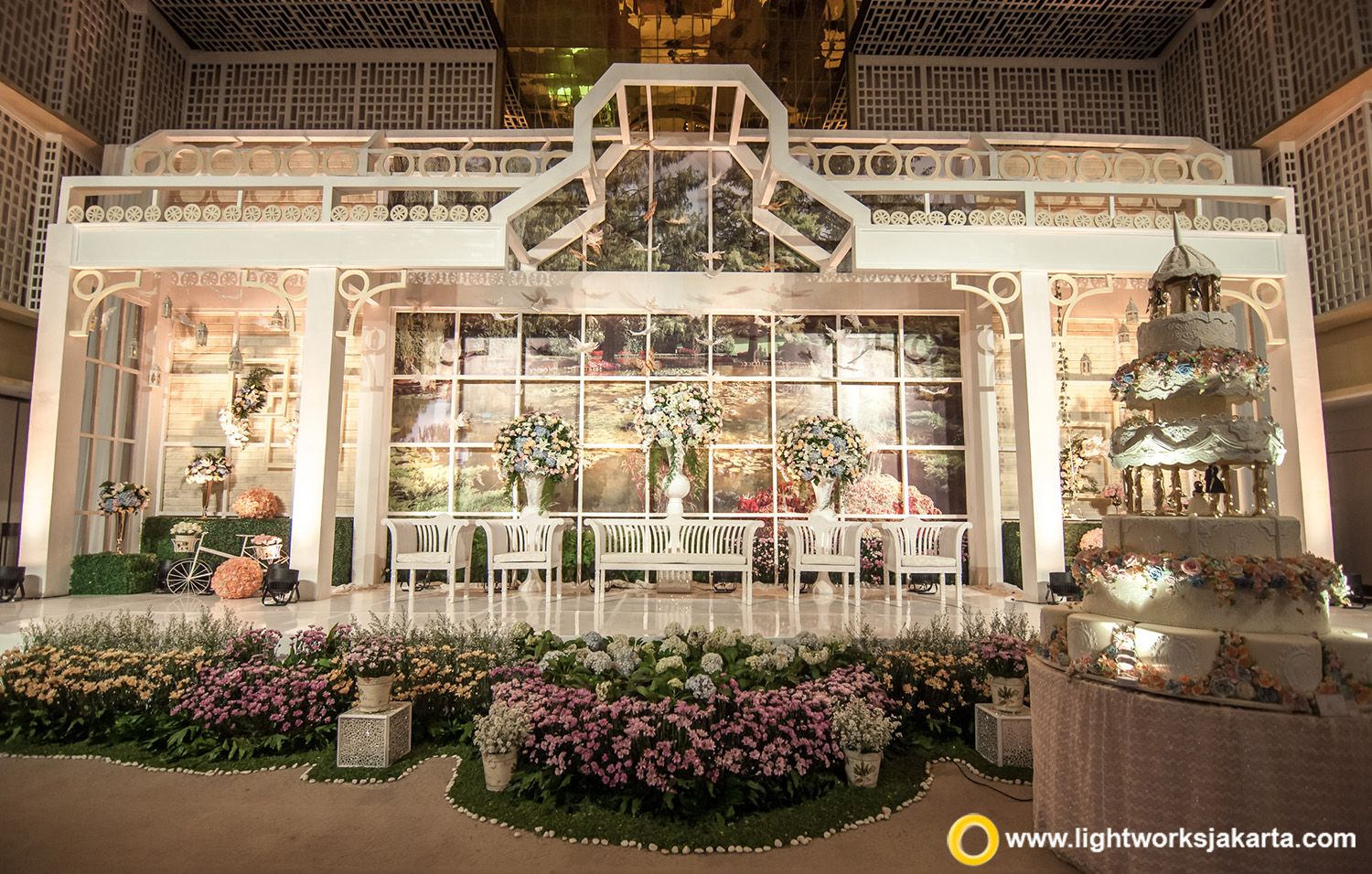 The garden theme for william and indah wedding stage at thamrin nine the garden theme for william and indah wedding stage at thamrin nine ballroom decoration by junglespirit Gallery