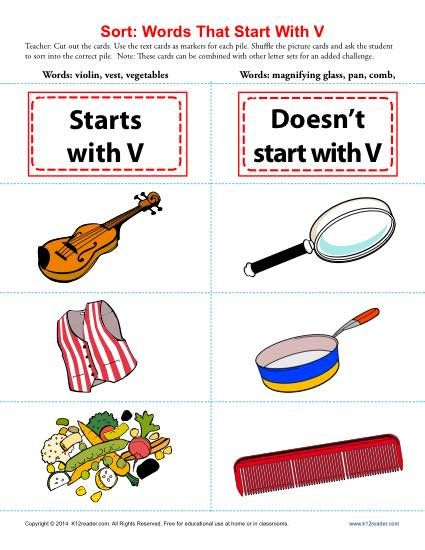 Words Starting With Letter V  Worksheets Printable Worksheets