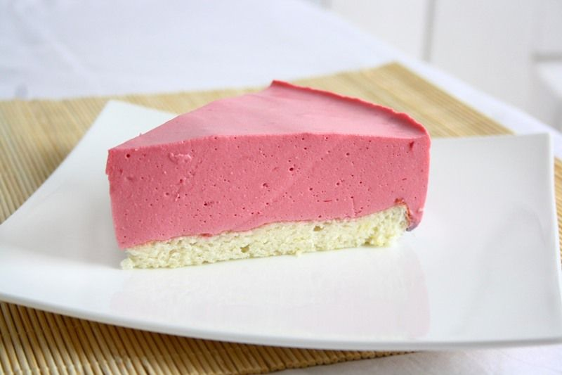 Raspberry Mousse Pie...with a soft sponge crust