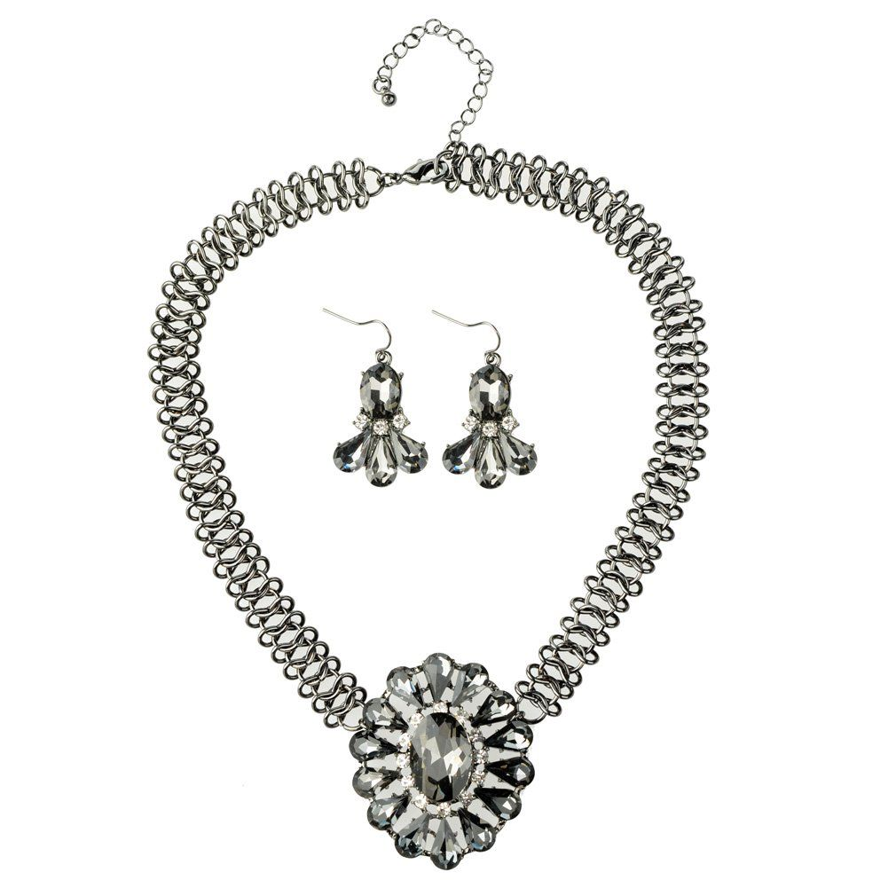 Btime Brief Alloy Glass Rhinestone A Series of Eight Set Necklace