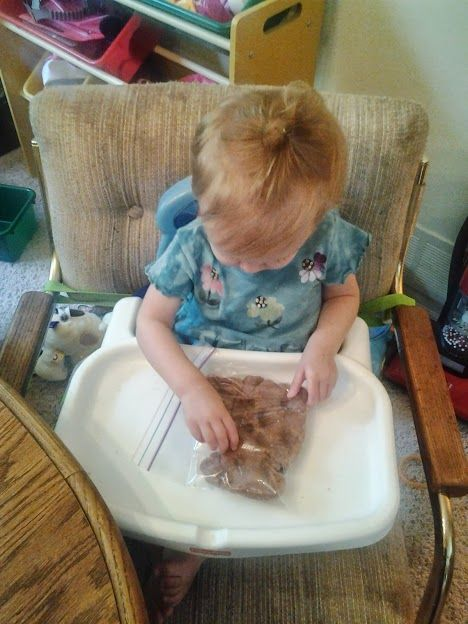 Toddler Play-dough Have children that may be attracted to eating or that might have sensory issues play with play dough through a bag. That way they can join in on the fun.